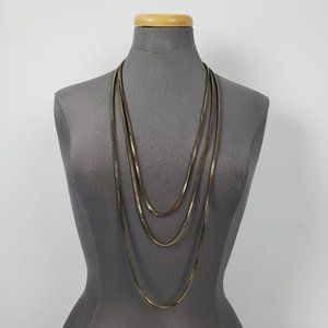 Antique Bronze Box Chain Layered Necklace